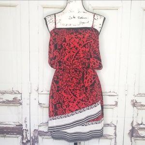 Express Dress Strapless Spaghetti strap red black